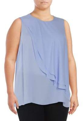 Vince Camuto Plus Double Layer Front Sleeveless Top