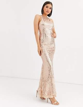 Club L London cut out back fishtail sequin maxi dress