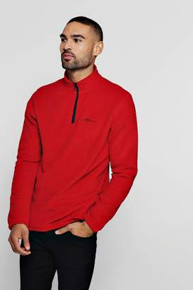 boohoo MAN Signature Zip Neck Fleece Top