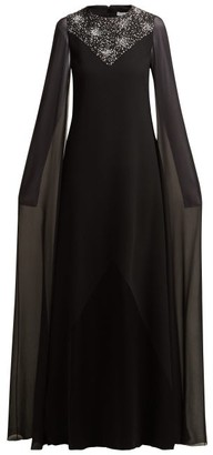 Givenchy Crystal Embellished Wool And Silk Chiffon Gown - Womens - Black