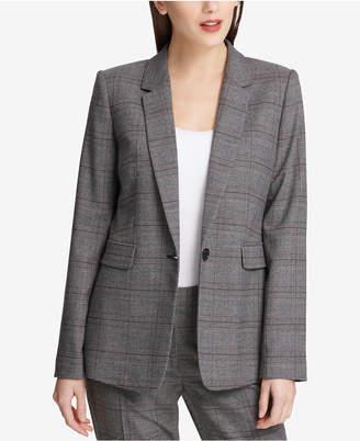 DKNY Plaid One-Button Blazer, Created for Macy's