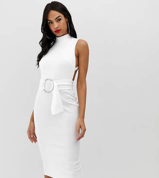 Asos DESIGN minimal belted midi dress with ring detail