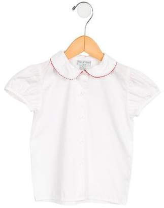 Papo d'Anjo Girls' Scallop-Trimmed Button-Up Top