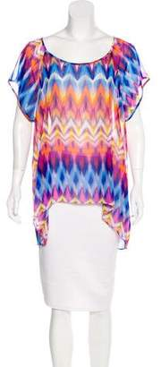 BCBGMAXAZRIA Woven Short Sleeve Top