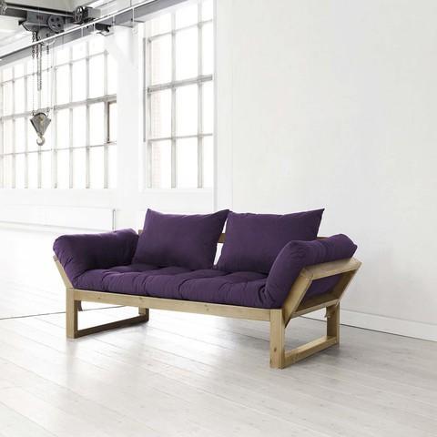 Fresh Futon Edge Purple With Natural Frame