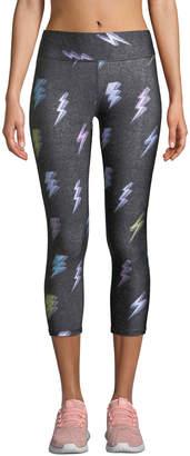 Lightning Bolt Terez Mid-Rise Lightning-Bolt Capri Leggings