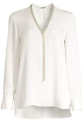 Elie Tahari Women's Emra Embellished-Trim Silk Blouse