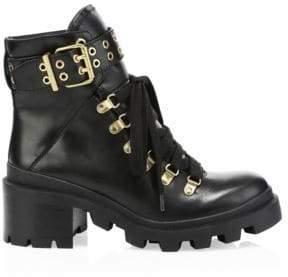 Alice + Olivia Havis Leather Chunky Combat Boots