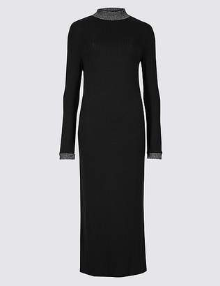 Marks and Spencer Textured Long Sleeve Midi Dress