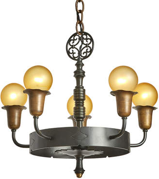Rejuvenation Wrought Iron 5-Light Chandelier w/ Two-Tone Finish