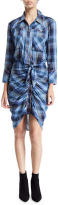 Veronica Beard Sierra Gathered Plaid Button-Front Shirtdress