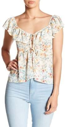 June & Hudson Floral Print Ruffle Split Neck Blouse