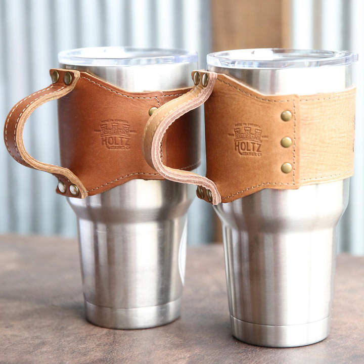 Etsy Personalized Bridesmaid Gift - The Rocket City Fine Leather for 30 oz Yeti Wrap With Handle in Brow