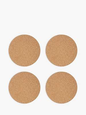 House by John Lewis Round Cork Placemats, Set of 4