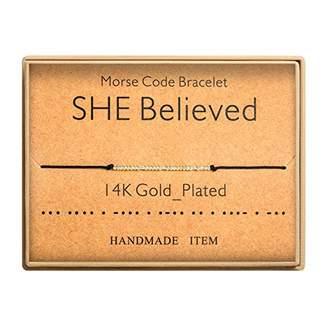 Morse Code Bracelet 14k Gold Plated Beads on Silk Cord Secret Message SHE Believed Bracelet Gift Jewelry for Her