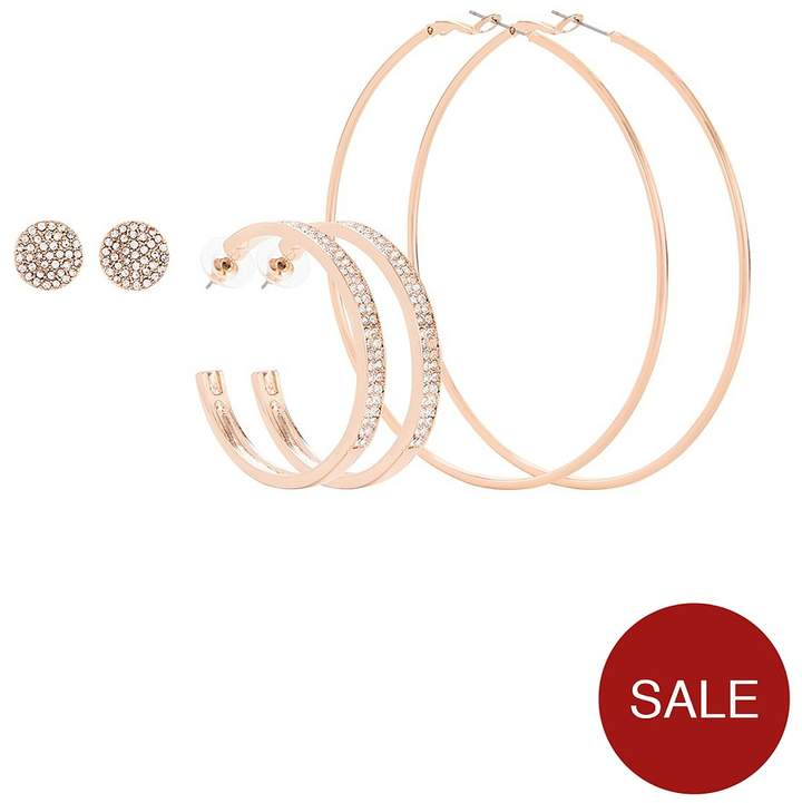 3 Pack Diamante Detail Earrings