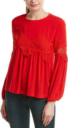 ENGLISH FACTORY Lace-Trim Top