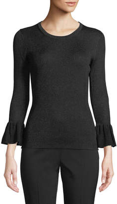 Michael Kors Jewel-Neck Flounce-Cuff Fitted Metallic-Knit Sweater
