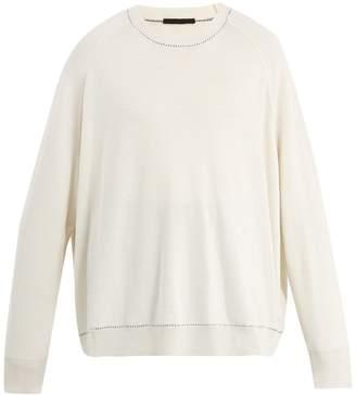 Haider Ackermann Contrast-stitch oversized wool-blend sweater