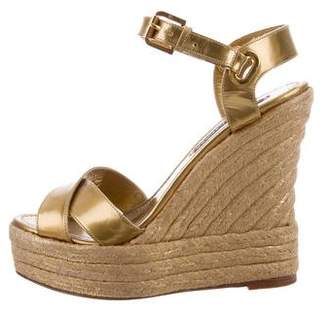 Ralph Lauren Metallic Espadrille Wedges