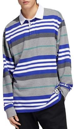 adidas Cleland Striped Long-Sleeve Regular Fit Polo Shirt