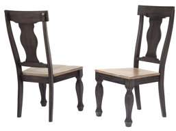 Pilaster Designs Nysha Charcoal & Oak Wood Transitional Dinette Formal Dining Room Scooped Fiddleback Side Chairs (Set Of Two)