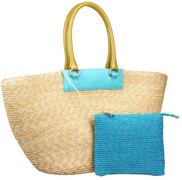 Furla Brigitte L Shopper Svasata (Naturale/Turquoise/Lime) - Bags and Luggage
