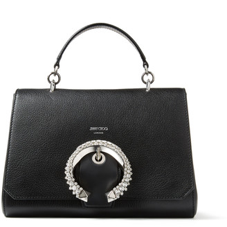 Jimmy Choo MADELINE TOP HANDLE Black Goat Calf Leather Top Handle Bag with Crystal Buckle