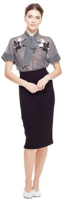 Lela Rose Wool Crepe Pencil Skirt With Pearl Buttons