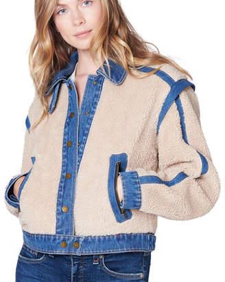 Veronica Beard Potter Cropped Denim-Trim Sherpa Jacket