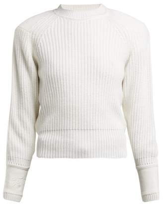 Fendi Embroidered Cuff Cashmere Sweater - Womens - White