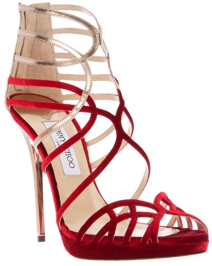 Jimmy Choo Velvet and Leather Strappy Sandals