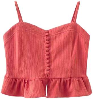 Goodnight Macaroon 'Ella' Button Front Cropped Peplum Top (2 Colors)