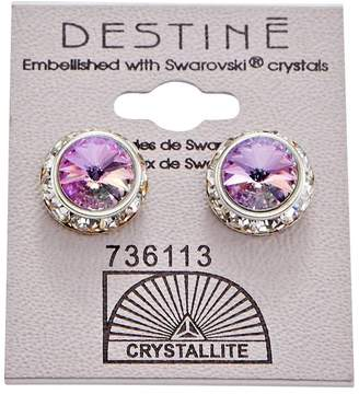 Crystallite Destine Violet Rhinestone Rivoli Earrings 12mm