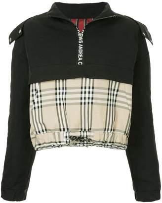 Andrea Crews mixed fabric half zip hoodie
