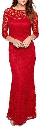 BLU SAGE Blu Sage 3/4 Sleeve Lace Evening Gown