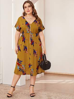 Shein Plus Floral Print V-neck Button Dress