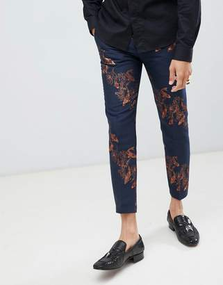 Twisted Tailor super skinny cropped pants with carp print