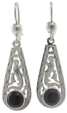 Artisan Crafted Sterling Silver and Jade Earrings, 'Proud Black Quetzal'