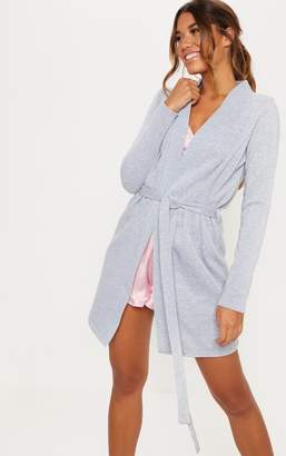 PrettyLittleThing Grey Fleece Lined Dressing Gown