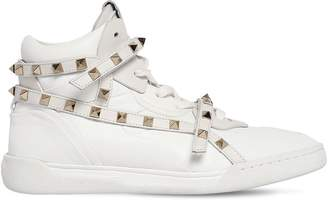 Valentino 20mm Rockstud High Top Leather Sneakers
