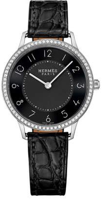 Hermes Slim d'Hermès Watch with Diamonds & Black Alligator Strap, 0.47tcw