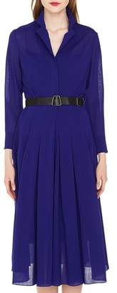 Akris Belted Wool Georgette Dress