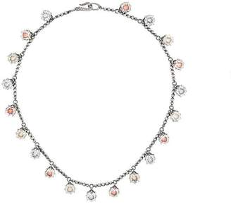 Bottega Veneta multicolour cubic zirconia oxidized silver necklace