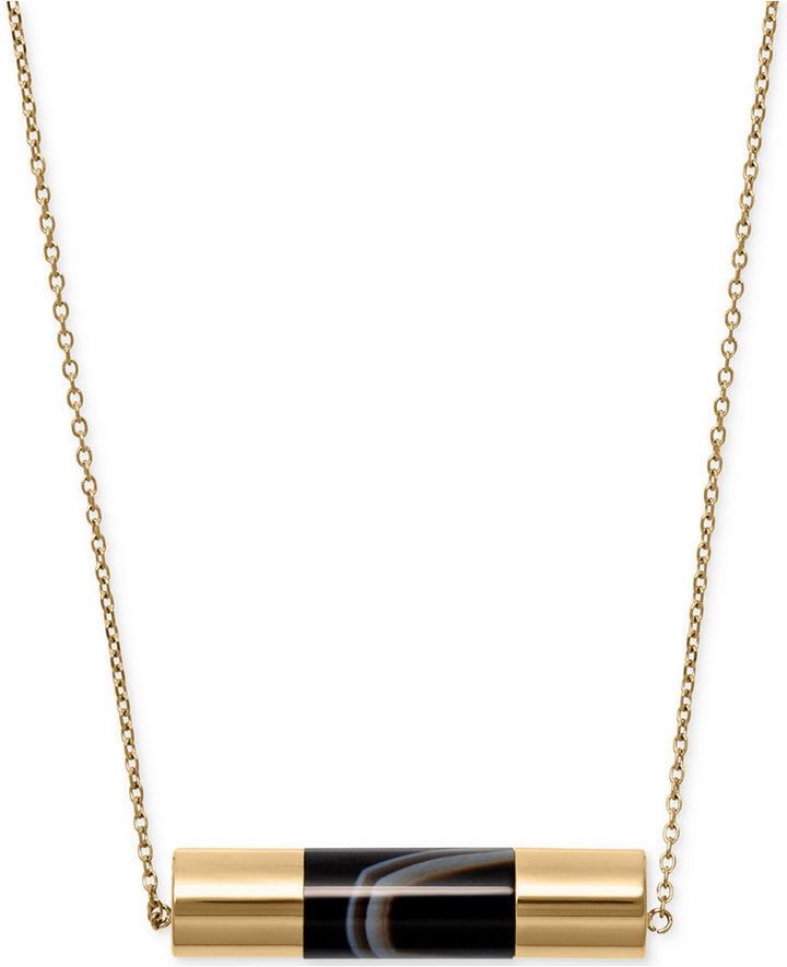 MICHAEL Michael KorsMichael Kors Gold-Tone Black Stone Cylinder Pendant Necklace
