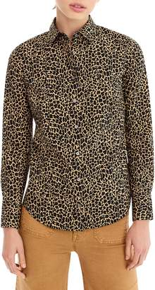 J.Crew Leopard Print Slim Stretch Perfect Shirt