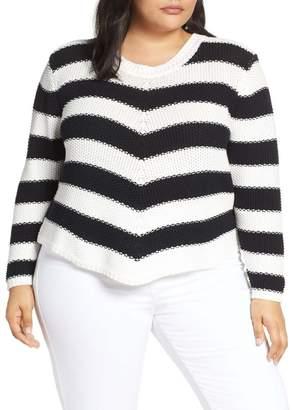 Caslon Stitch Stripe Sweater (Plus Size)