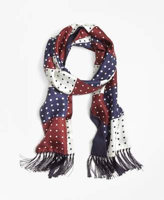 Brooks Brothers Polka Dot Patchwork Scarf