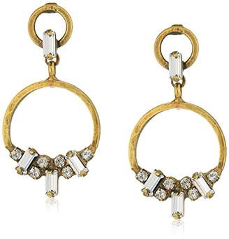 Sorrelli Lisa Oswald Collection Double Crystal Adorned Front Facing Hoop Drop Earrings