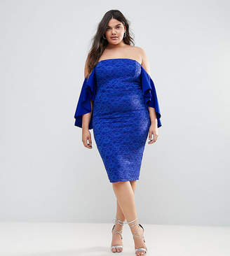 Asos Lace Bardot Midi Dress With Extreme Sleeves